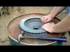 Brake Drum Forge with Fire Pot - Forging Knives, Forging Tools, Forging Metal, Build A Forge, Diy Forge, Metal Projects, Welding Projects, Metal Crafts, Aluminum Crafts