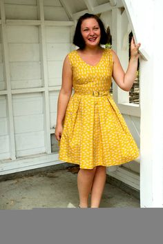 Mustard Yellow 1950s Dress  belted with by DressmakersWardrobe, $120.00