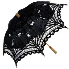 Topwedding Cotton Lace Flower Girl Kids Parasol Wedding Umbrella ($15) ❤ liked on Polyvore featuring umbrellas, accessories, parasol, black and miscellaneous