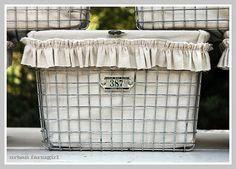 Lined wire baskets - love the linen, the exposed seams, and the raw edges