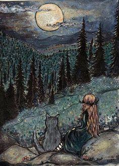 ArtbyLadyViktoria 'Quiet Magick in the Gloaming' Art And Illustration, Illustrations, Arte Obscura, Witch Art, Fairytale Art, Moon Art, Dark Art, Magick, Art Inspo