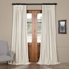 Shop for Exclusive Fabrics Faux Silk Extra-wide Blackout Single Curtain Panel. Get free delivery On EVERYTHING* Overstock - Your Online Home Decor Outlet Store! Faux Silk Curtains, Curtains 1 Panel, Drapery Panels, Velvet Curtains, Blackout Curtains, Off White Curtains, Extra Long Curtains, Door Curtains, Grommet Curtains