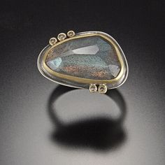Rose Cut Labradorite Ring with Five Chocolate Diamond Dots: Ananda Khalsa: Gold, Silver, & Stone Ring | Artful Home