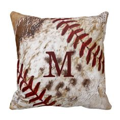 Monogrammed or Jersey Number Grunge Baseball Pillows with close up baseball stitches for the coolest baseball decorating ideas for guys bedroom and baseball man cave: http://www.zazzle.com/grunge_monogrammed_dirty_baseball_pillow-189427239131643452?rf=238147997806552929 See other coordinating and matching personalized baseball decorating ideas and gifts. ALL Baseball Gifts Here: http://www.zazzle.com/littlelindapinda/gifts?cg=196556138924326857&rf=238147997806552929