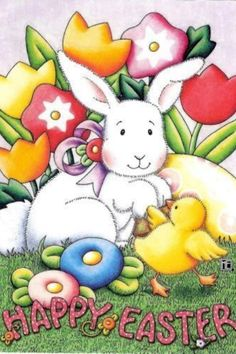 Happy Easter Rabbit By Mary Engelbreit Happy Easter Bunny, Hoppy Easter, Mary Engelbreit, Easter Wallpaper, Holiday Wallpaper, Iphone Wallpaper, Here Comes Peter Cottontail, Rabbit Baby, Baby Chicks