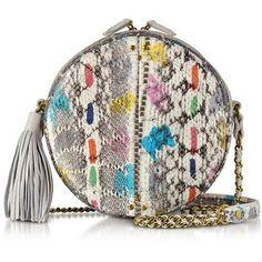 Jerome Dreyfuss Designer Handbags Remi Vassily Printed Snakeskin Round Crossbody Bag
