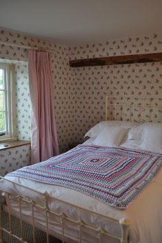 Cottage Bedroom with Cath Kidston Rose Sprig wallpaper