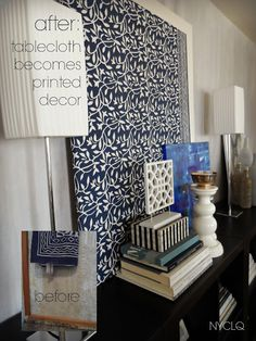 ReThink that HomeGoods FabFind: A printed tablecloth Before & After creates a focal point framed by additional HomeGoods finds: A slim pair of buffet lamps. Lynda Quintero-Davids #Summer #HomeGoodsHappy #sponsored