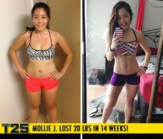 "Mollie J. lost 20 lbs in 14 weeks with Focus T25! #ALPHA #BETA #GAMMA Congrats Mollie! Way to FOCUS!!    ""I originally wanted to lose 10 lbs and tone up! Little did I know I would lose 20 lbs! I feel amazing and confident. I can't stop comparing my before and after photos!"""