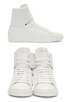 White Leather SL/01H Court Classic High-Tops.. Smooth matte leather high-top sneakers in white. Round toe. Tonal 10-eye lace-up closure. Logo stamp in gold at tongue. Padded collar. Signature embossed at quarter and at heel collar. Rubber foxing and sole in black. Tonal stitching. Leather upper.  http://www.zocko.com/z/JIyxo