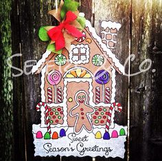 Sweet Gingerbread House burlap door hanger by Severs & Co. $30+shipping. Visit us at Facebook.com/theburlapgiraffe for ordering.
