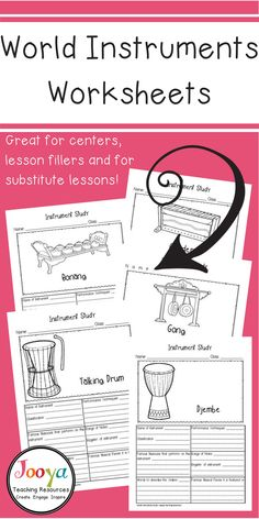 These 42 World Instrument Study worksheets are an engaging way to introduce General and Middle School Music students to different instruments heard in various styles of music. The printable research activities are suitable for substitute lessons, assignme Music Education Lessons, Elementary Music Lessons, Music Lessons For Kids, Music Lesson Plans, Drum Lessons, Singing Lessons, Singing Tips, Piano Lessons, Preschool Music Lessons