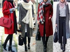 Winter colorful coats with hijab – Just Trendy Girls Hajib Fashion, Muslim Fashion, Modest Fashion, Fashion Outfits, Hijab Casual, Hijab Chic, Hijab Dress Party, Hijab Outfit, Hijab Collection
