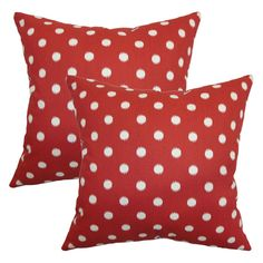 Ikat Dots Pillow in Primary Red
