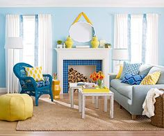 Upbeat  Color Scheme  Shades of Blue + Lemon Yellow  Multiple shades of blue -- from the deep blue wicker chair to the pale blue sofa -- mix and mingle with lemon yellow accents plus textural neutrals such as beige and white.