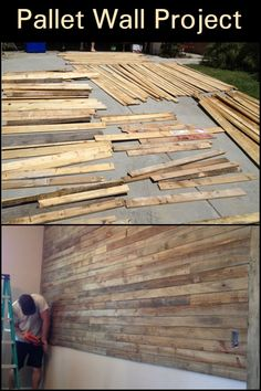 Put up a pallet wall with this easy and inexpensive DIY project! - Put up a pallet wall with this easy and inexpensive DIY project! Informations About Put up a pallet - Pallet Wall Bedroom, Pallet Accent Wall, Diy Pallet Wall, Diy Pallet Furniture, Diy Pallet Projects, Diy Wall, Wood Projects, Pallet Walls, Wood On Walls