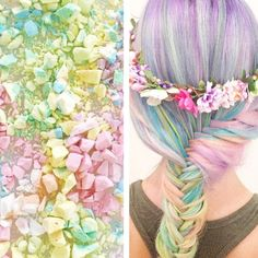 Rainbow hair color inspired by crushed candy. Fishtail braid Pastel Hair Mermaid Hair Unicorn Hair fb.com/hotbeautymagazine