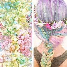 Rainbow hair color inspired by crushed candy. Fishtail braid Pastel Hair Mermaid Hair Unicorn Hair fb.com/hotbeautymagazine