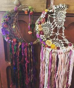 Love these!!  Lace, ribbon and flowers. So pretty!   (Use twigs and wire to hold them together or cut a wreath and again, use wire to hold it together)