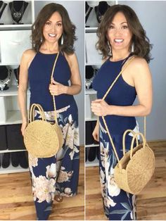 palazzo pants outfit idea, how to wear palazzo pants, lisa maynard, Floral Palazzo Pants, White Tassel Earrings, High Neck Tank Top, Aging Gracefully, Pants Outfit, Summer Looks, Straw Bag, What To Wear, Summer Outfits