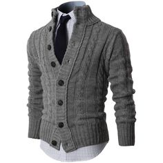 MENS HIGH NECK TWISTED KNIT CARDIGAN SWEATER WITH BUTTON DETAILS (KMOCAL020) Doublju (42,440 KRW) found on Polyvore #doublju