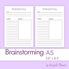 "Brainstorming A5 (5.83"" x 8.27"") PDF Filofax Inserts. Printable refills. Digital files. Instant Download. by EasyLifePlanners on Etsy"