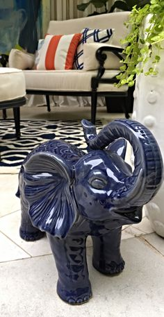 Embellished in elaborate artistry and striking a celebratory pose, our Blue Ceramic Elephant appears ready to lead a ceremonial procession.  | @CHIP_WADE  for Atlanta Symphony Orchestra Show House 2015