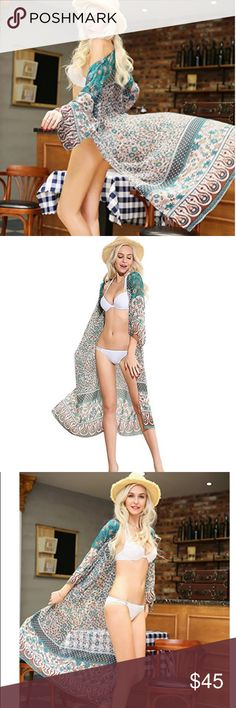 """Desert Angel Long Boho Kimono The same gorgeous Bohemian Print as the Desert Angel dress in an open Kimono. One Size. Fit will vary based on the wearer. Length is appropriate 51"""". Please ask any questions prior to purchase. Thanks! 💙🌙🎩 Accessories Scarves & Wraps"""