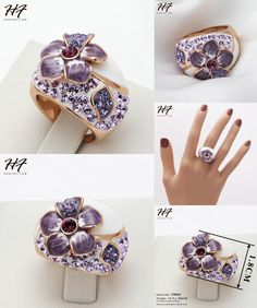 [Visit to Buy] Purple Flower Rose Gold Color Ring Jewelry Made with Genuine Austrian Crystals Wholesale R045 #Advertisement