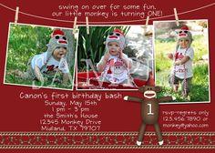 Sock Monkey Birthday Invitation or Thank You - custom design. $18.00, via Etsy.