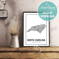 NORTH CAROLINA ART Print, Instant Download, North Carolina Print, North Carolina State Art, Printables, Black White Print, North Carolina by AmberstoneDesign on Etsy Black And White Printer, Black White, Stock Photo Websites, Nursery Letters, Photo Store, California Art, Amber Stone, Typography Art, Minimalist Art