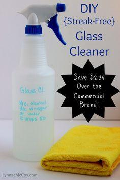Easy DIY Streak-Free Glass Cleaner - http://lynnaemccoy.com/?p=5775