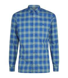 BURBERRY Gingham Check Collar Shirt. #burberry #cloth #