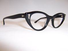 Classic Black 1950s Cat Eye Glasses - Vintage Glasses - Dead Men's Spex