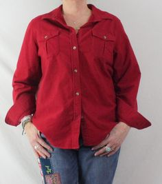 Nice LL Bean Chamois Shirt XL Size Womens Cranberry Red Great for Shirt Jacket