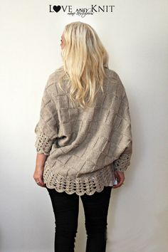 Hand Knitted Cardigan Oatmeal by LoveandKnit on Etsy, $125.00