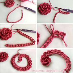 It is not as difficult as it looks to crochet a Beautiful Lace Ribbon Rose. These crochet pretty lace roses would be a fabulous addition.tığla çiçek yapımı -crochet flower how-toannotated crochet flower Really nice crocheted flower -- page written i Crochet Flower Tutorial, Crochet Diy, Crochet Motifs, Crochet Flower Patterns, Love Crochet, Irish Crochet, Crochet Crafts, Yarn Crafts, Crochet Flowers