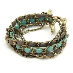 Leather and metal green and gray bracelet