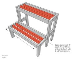 Learn how to build an outdoor tiered display shelf, with FREE building plans. Perfect to display holiday decor or to use year-round. Woodworking Nightstand, Woodworking Ideas Table, Woodworking Furniture Plans, Woodworking Projects For Kids, Woodworking Store, Woodworking Joints, Popular Woodworking, Fine Woodworking, Wood Projects