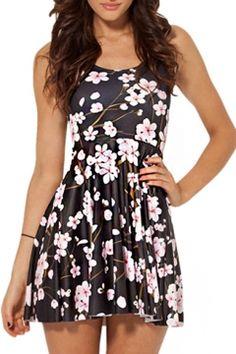 Sakura Print Black A-line Tanks Dress-- this website has really cheap dresses!