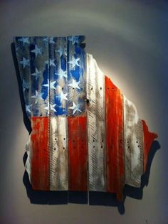 Wooden State of Georgia with American flag.except mine would be ☆Texas! Pallet Crafts, Pallet Art, Wood Crafts, Primitive Crafts, Pallet Boards, Crafts To Do, Arts And Crafts, Diy Crafts, Wood Projects