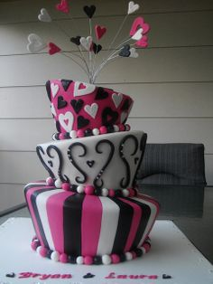 Hot pink, black and white Madhatter Engagement Cake Crazy Cakes, Fancy Cakes, Cute Cakes, Yummy Cakes, First Birthday Cakes, Birthday Cake Girls, 3rd Birthday, Birthday Ideas, Beautiful Cakes
