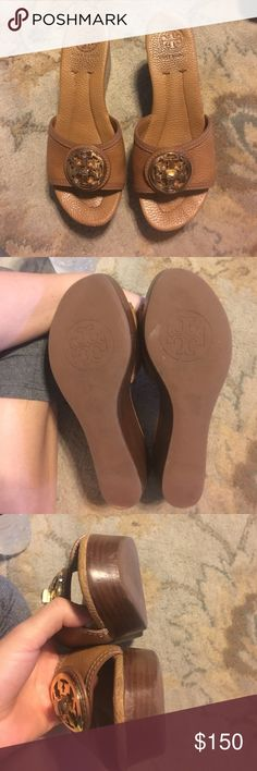 TB WEDGE SANDALS TB WEDGE SANDALS TAN LEATHER Tory Burch Shoes Wedges