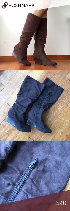 Diba Knee high wedge boots, brown boots, size 8 Knee high wedge boots, brown boots, size 8  Smoke-free home. Clean. Gently Used. No Stains.  Bundle 2 listings and get 20% off :) Diba Shoes Heeled Boots