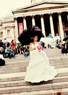 Don't fret if your wedding day is a rainy one.  Umbrellas can become a fun photographic prop. #wedding #umbrella