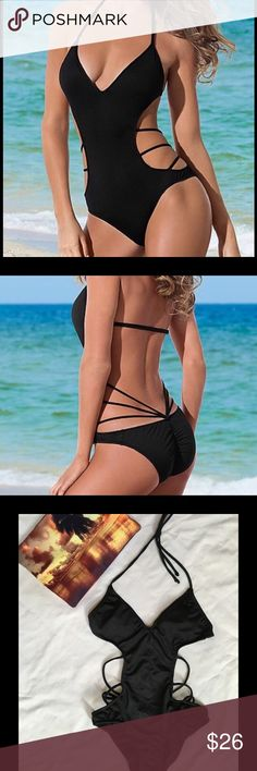 Venus strap pay monokini Stunning monokini! Cups are lightly padded with removable pads. Adjustable back closure. Flattering strappy sides that attach to the center of the low rise bottom. Bottoms are rushed down the back center and have medium coverage.
