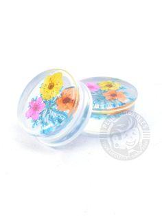 Flower Inlay Acrylic Plugs