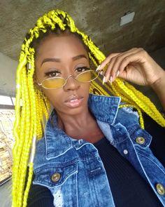 Small Box Braids, Jumbo Box Braids, Box Braids Hairstyles, Twists, Colored Braids, Blonde Box Braids, Box Braids Styling, Yellow Hair, Favim