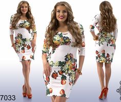 Beautiful Woman Dress Diving 3/4 Sleeve Above Knee Casual Plus size #Unbranded #StretchBodycon #Casual
