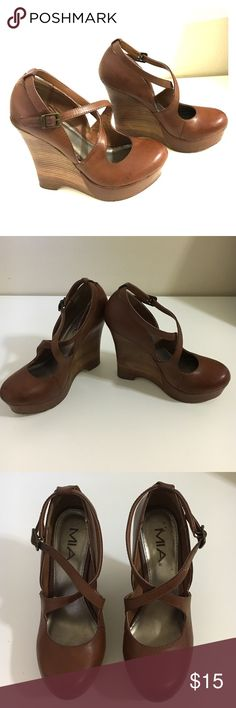 MIA Brown Wedges size 7M MIA Brown Wedges in size 7M. Lightly used. MIA Shoes Wedges